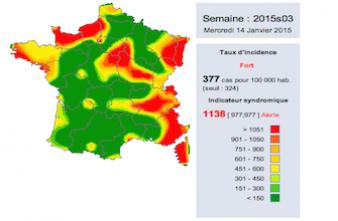 Gastro-entérite : la carte de France de l'épidémie
