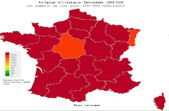 La décrue de la grippe  en France