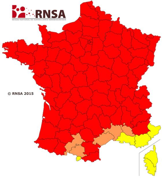 Allergies : toute la France dans le rouge